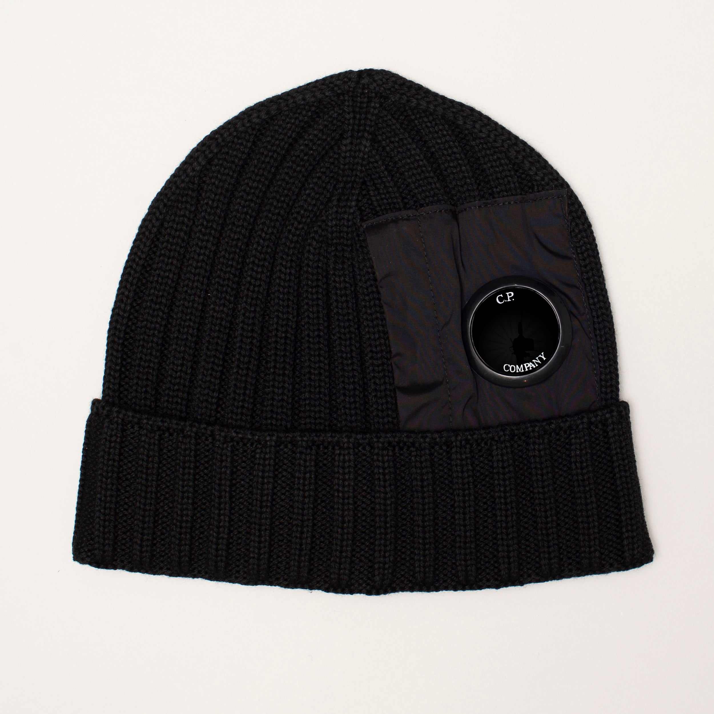 CP COMPANY MERINO WOOL MIXED LENS BEANIE BLACK