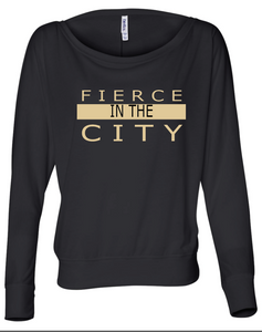 Fierce In The City Flowy Long Sleeve Off Shoulder Tee