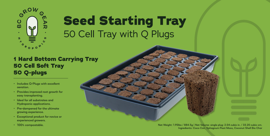 bc grow gear seed starting tray cloning cutting seedling germination cell 50 Qplugs q plugs Q-plugs ihort cannabis clone cloning rooting general hydro rapid rooter super sprouter