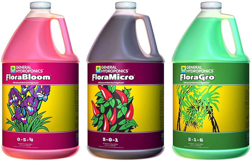 General Hydroponics GH Trio Flora Gro, Bloom & Micro Fertilizer