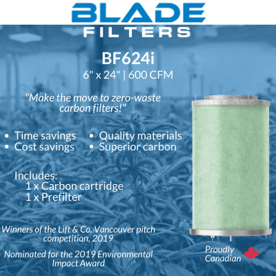 "Blade Filters BF624i 600 CFM 6"" Carbon Filter Replacement cartridge"