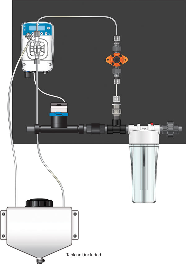 Dosatron Etatron eOne Micro-Dosing Pump 0.75 in - Assembled Panel (Right to Left)