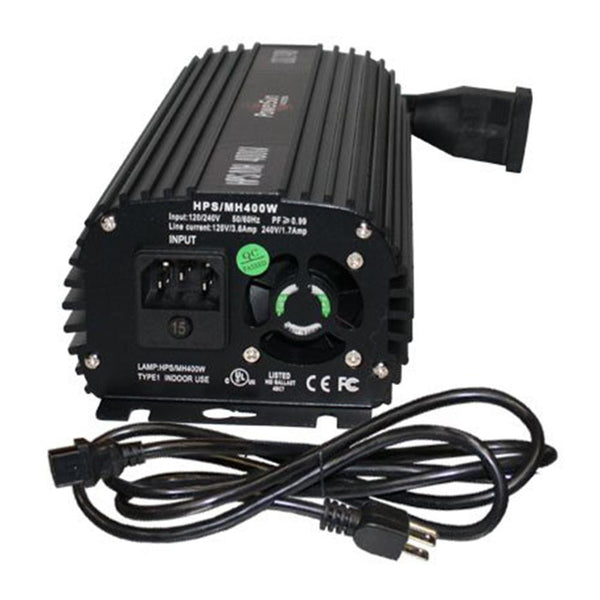 PowerSun Electronic Ballast Fan-Cooled 400W HPS / MH - 120 / 240V in Canada - IndoorGrowingCanada