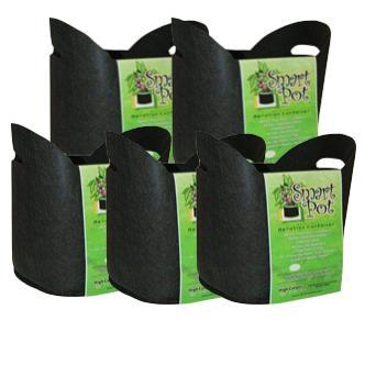 "Smart Pot #5 (HANDLES) 5 GAL / 19 L 12"" / 30 CM Black Fabric Pot (x5)"