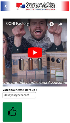 Application mobile CCI Canada France OCNI Factory concours Start-up