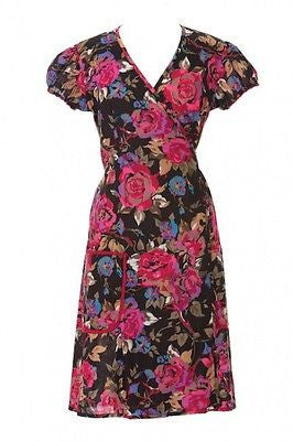 WRAP TEA DRESS * VINTAGE RETRO FLORAL BOHO * FAIR TRADE * 8 10 12 14 16 18 20