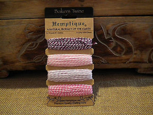 HEMPTIQUE COTTON BAKERS TWINE 4 COLOUR CARD - 4 X 9.1 METRES CHOICE OF COLOURS