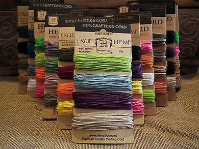 HEMPTIQUE HEMP CORD CARD - 4 COLOURS - 1mm 20lb - 4 x 9.1 m - BEADING MACRAME