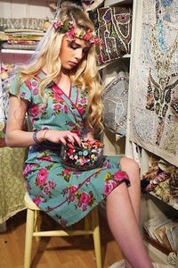 WRAP TEA DRESS * VINTAGE RETRO FLORAL BOHO * FAIR TRADE * 8 10 12 14 16 18