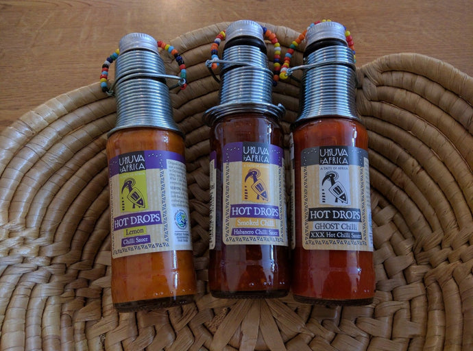 UKUVA i-AFRICA HOT DROPS CHILLI SAUCE * FAIR TRADE * GHOST CHILLI SMOKED, LEMON, GARLIC OR FOUR CHILLI