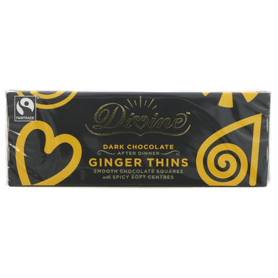 DIVINE DARK CHOCOLATE GINGER THINS VEGAN FAIR TRADE