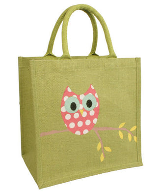 'OWL IN A TREE' JUTE SHOPPER