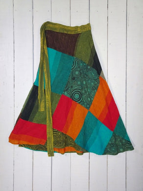 LONG PATCHWORK COTTON WRAP SKIRT - Gringo Fair Trade