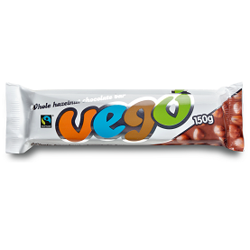 VEGO WHOLE HAZELNUT CHOCOLATE BAR 150G - VEGAN FAIR TRADE