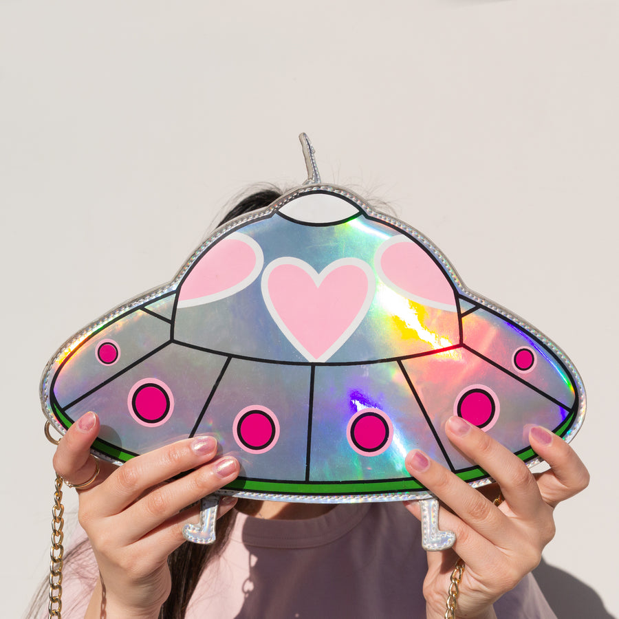 Spaceship Handbag - Bewaltz holographic faux leather teen fashion tweens fashion kids style fun adorable cute UFO gifts for girls