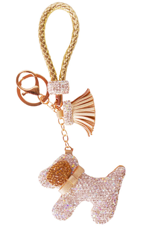 Diamond Charm Dog - Gold/Brown