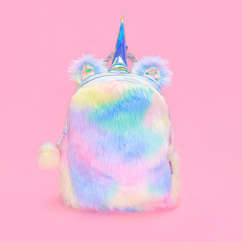 Plush Rainbow Unicorn Backpack - Sunshine - Bewaltz