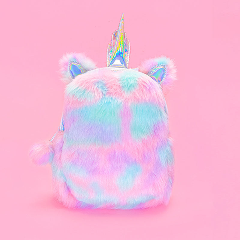 Plush Rainbow Unicorn Backpack - Sherbet - Bewaltz