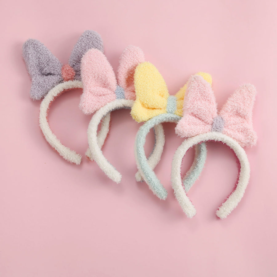 Soft Plush Bow Headband Set 1 - 4 Pieces