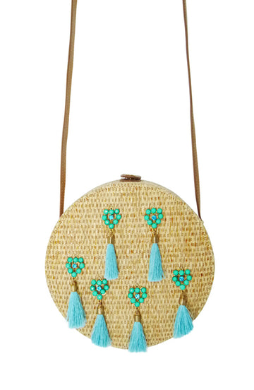 Circle Tassel Crossbody Handbag Blue - Bewaltz