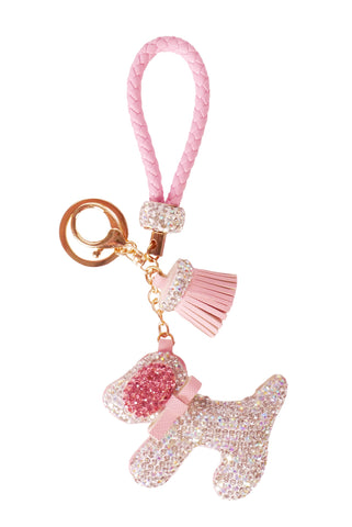 Diamond Charm Dog - Gold/Pink