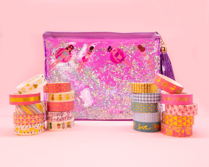 Purple Pool Party Pencil Pouch & Washi Tape Set - Bewaltz