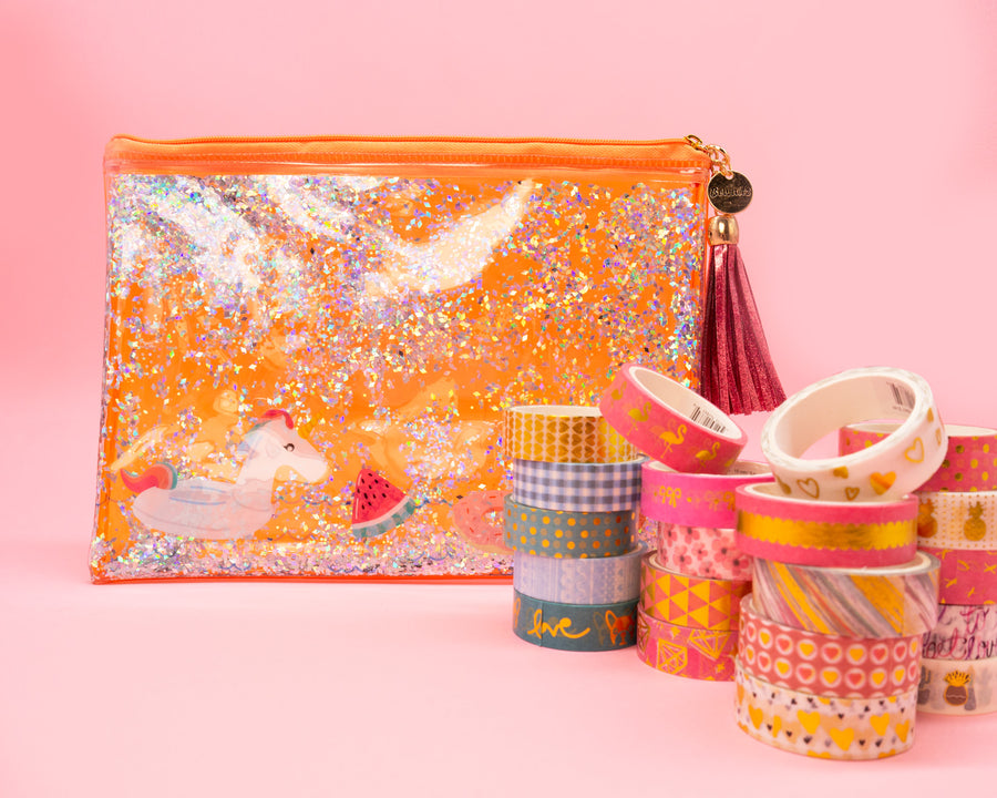 Peach Unicorn Pencil Pouch & Washi Tape Set - Bewaltz