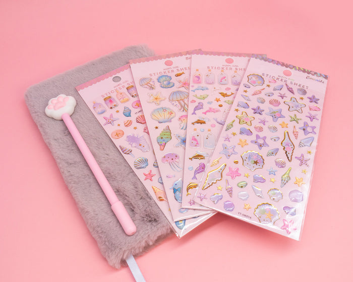 Purple Furry Notebook, Cat Paw Pen and Sticker Set - Bewaltz