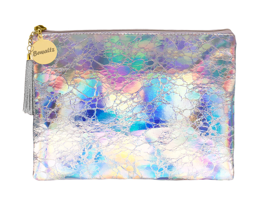 Holographic Makeup Large Pouch Silver - Bewaltz