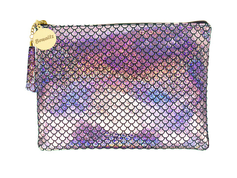 Mermaid Makeup Large Pouch Silver