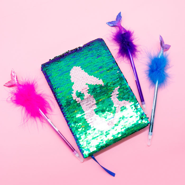 Flip Sequin Mermaid Notebook & Pen Set - Bewaltz