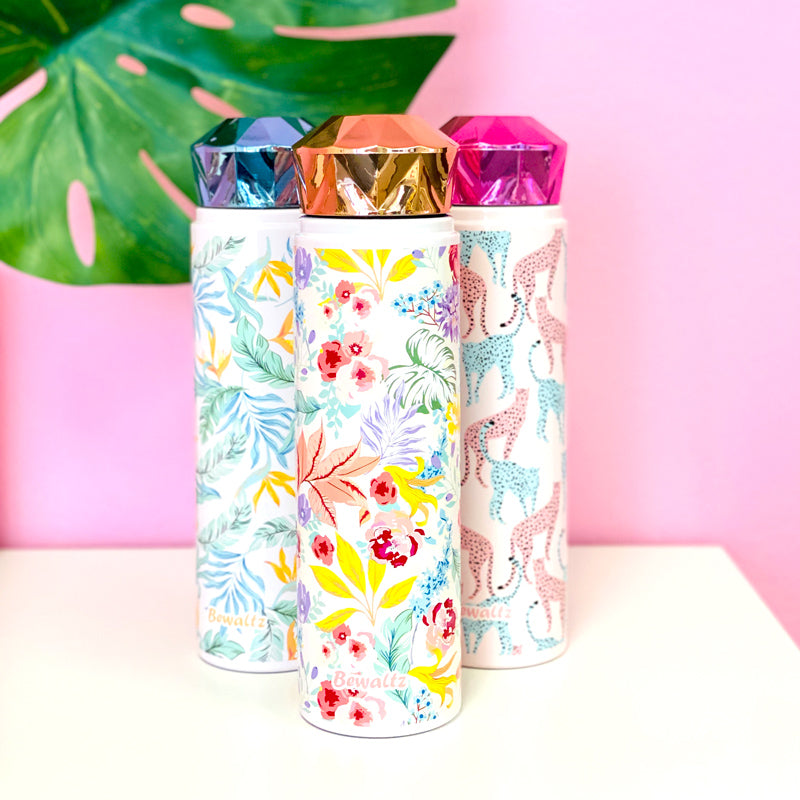 Stainless Steel Diamond Lid Tumbler - Tropical Floral - Bewaltz