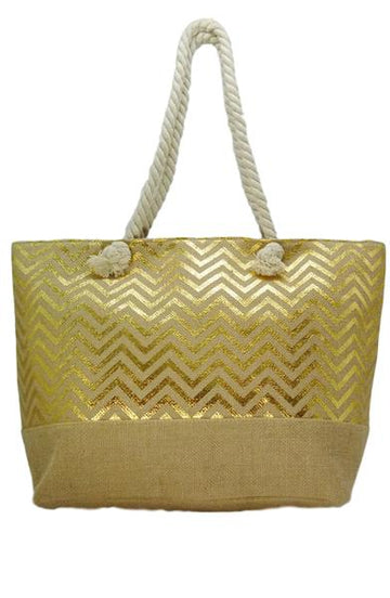 Beach Tote Bag - Chevron - Bewaltz