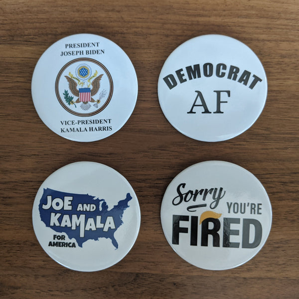 Winners! President Joe & Vice-President Kamala 4-pack of Buttons - Made In the USA