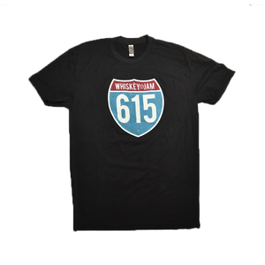 Whiskey Jam 615 BLACK Road Tee