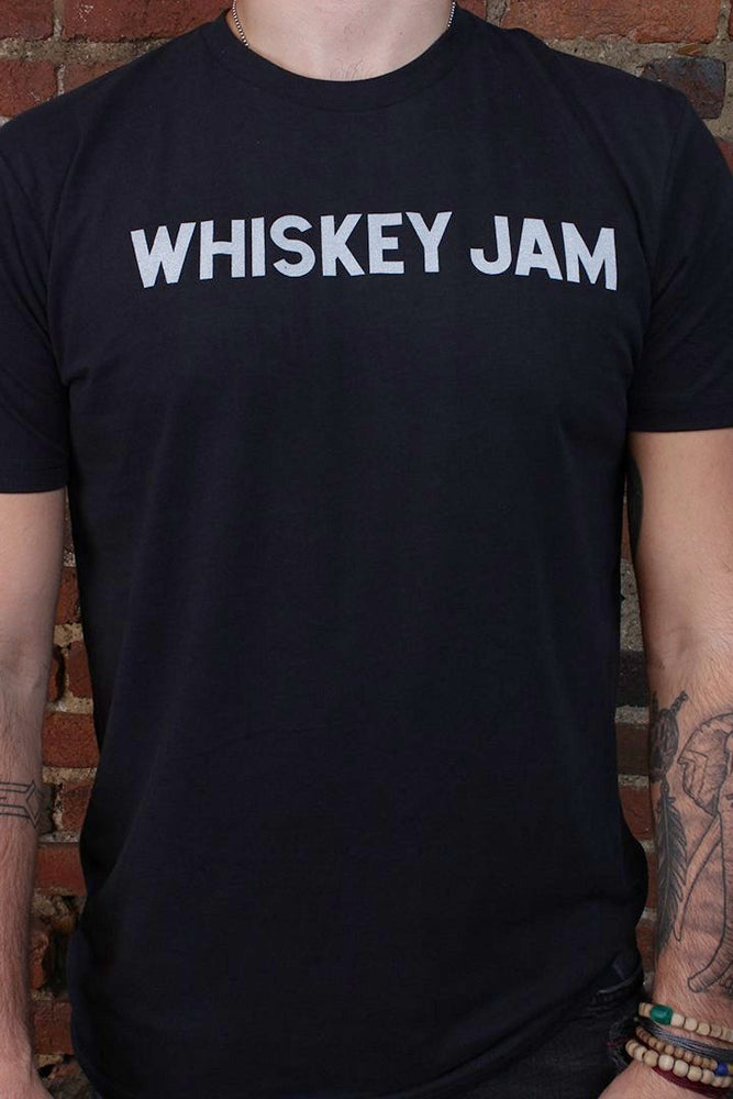 Whiskey Jam Varsity Black Sueded Tee
