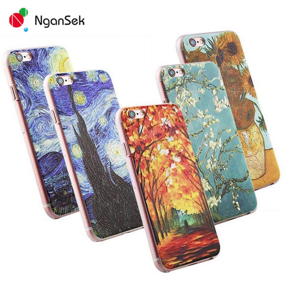 3D Painting Cell Phone Case For iPhone 7 Plus Case for iPhone SE 4 4s 5 5s 6 6s Plus Case Van Gogh Starry Night Phone Case Fone - Hardware Sense