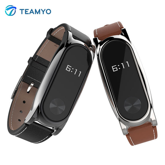 Mijobs Leather Strap For Xiaomi Mi Band 2 Wrist Straps Screwless Bracelet miband2 Smart Band Replace Accessories For Mi Band 2 - Hardware Sense