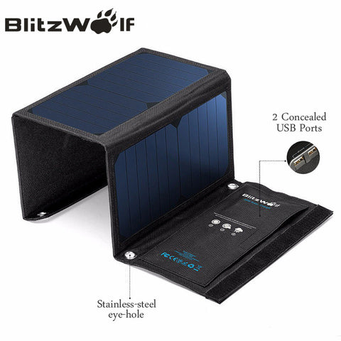 BlitzWolf 20W Solar Power Bank Solar Panel Portable Charger External Battery