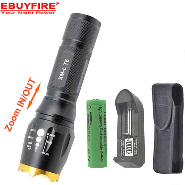 XM-L T6 2000 Lumens Zoomable LED Flashlight Torch light +1 x 6000mah 18650 Rechargeable Battery + charger + holster