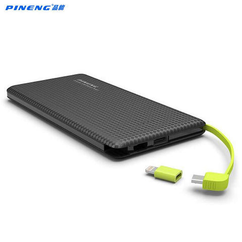 Original Pineng PN951 Power Bank 10000mAh USB Built-In Charging Cable External Battery Charger