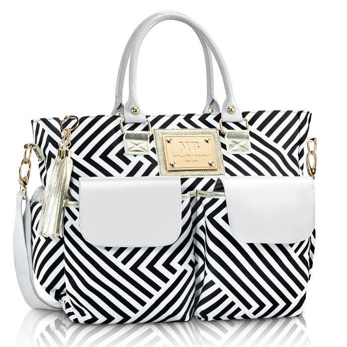Fashion Chevron Diaper Bag by MB Krauss - Large Women's Diapering Tote with Multiple Pockets, Black, White and Grey Luxurious Design - for Every Day Use (Voyager Tote)
