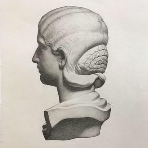 Head Study after Charles Bargue - Original Graphite Drawing (framed)