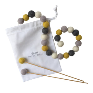 YELLOW AND GREY NURSERY FELT BALL GARLAND