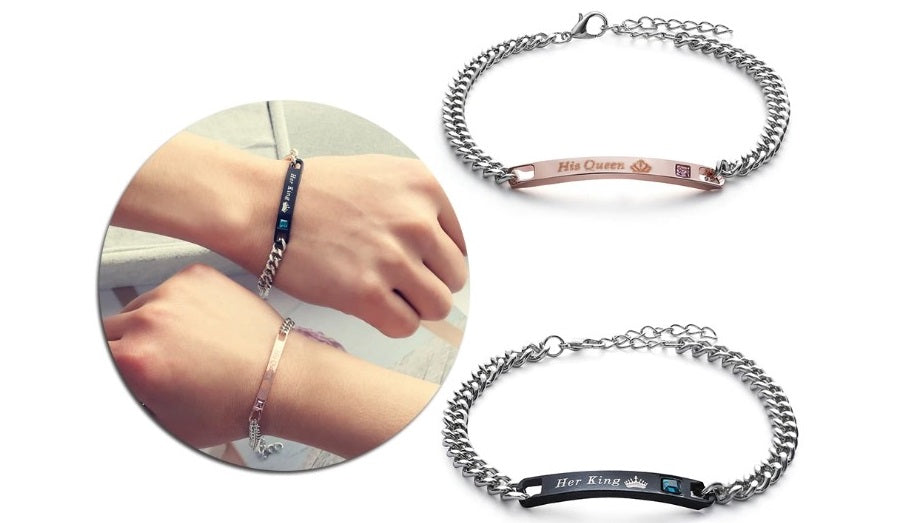 His Queen Her King Couple Bracelet Set