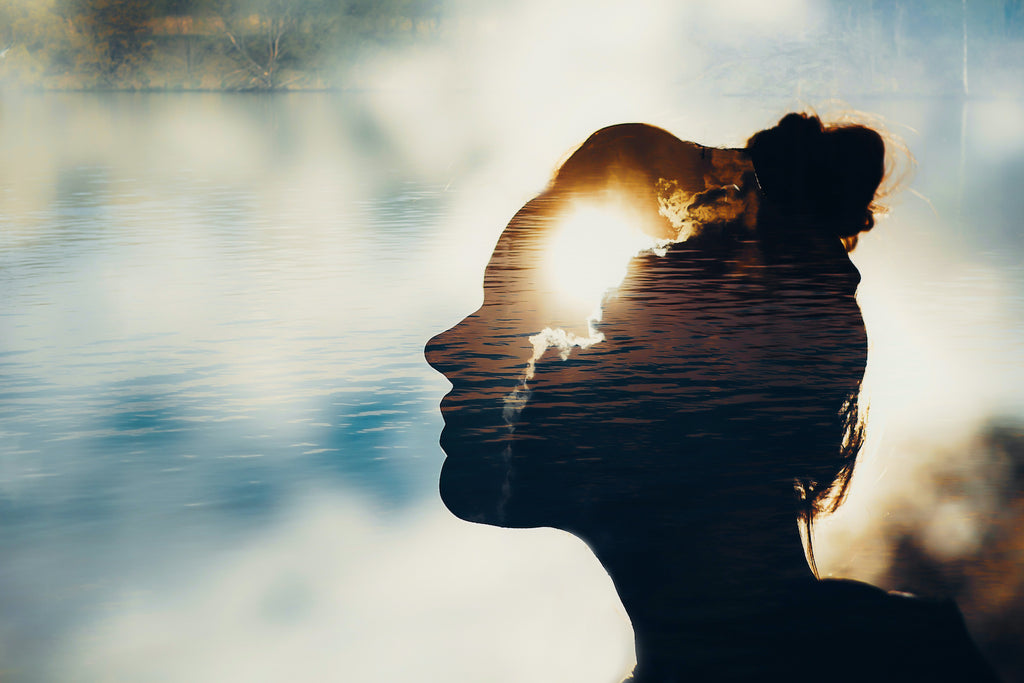 An image of the sun setting inside the silhouette of a woman's head