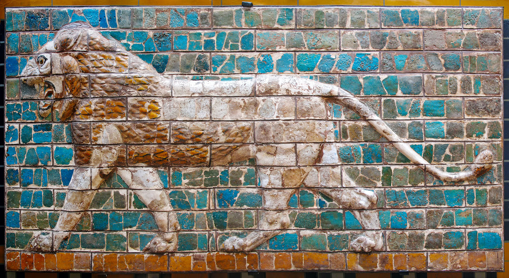 A Babylonian mural of a lion