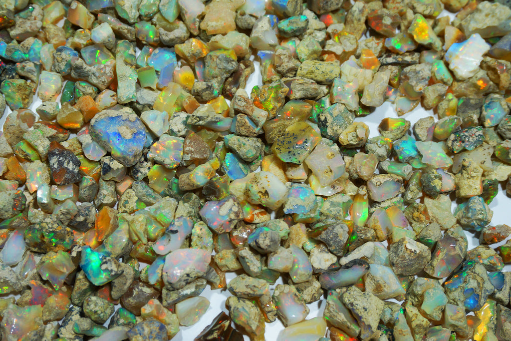 A pile of unfinished opal stones