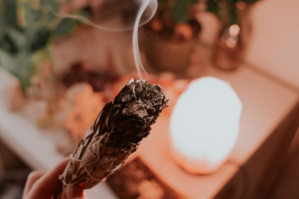 smudging with crystal lamp