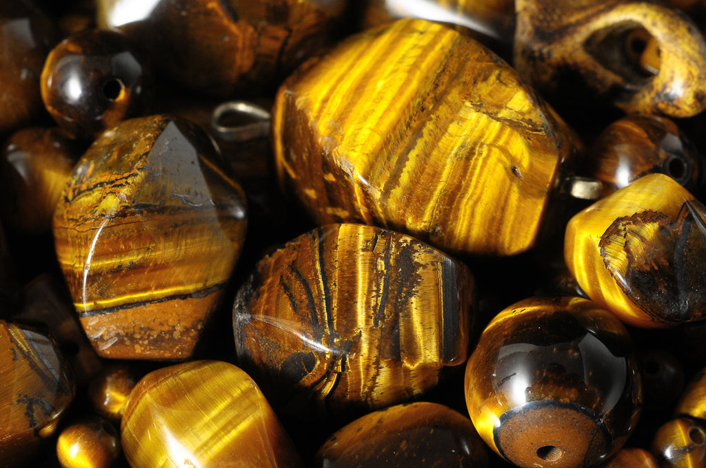 Gorgeous close-up of tiger's eye stones